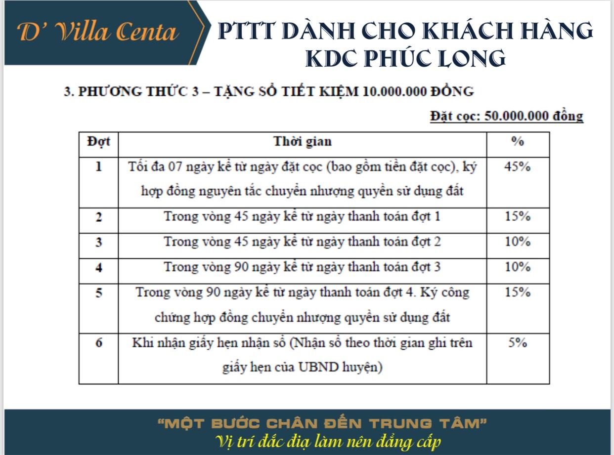 Phương thức thanh toán D'Villa Centa